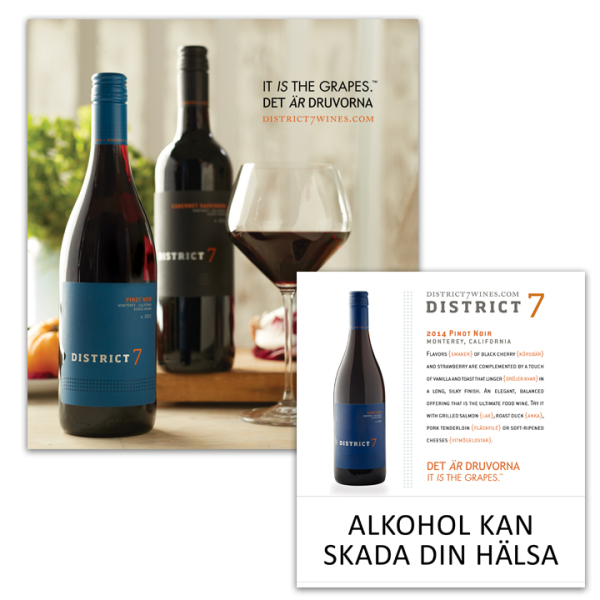 Swedish advertising of Distric 7 wine brand